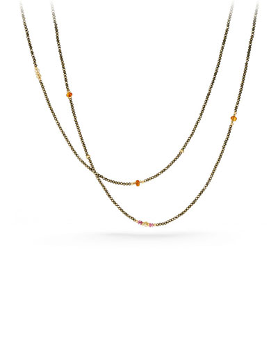 Mustique Tweejoux Pyrite Long Beaded Necklace, 62