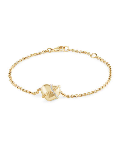 Le Petit Coeur Sculpted Heart Chain Bracelet with Diamonds in 18k Gold ...