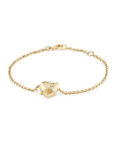 Le Petit Coeur Sculpted Heart Chain Bracelet With Diamonds In 18K Gold