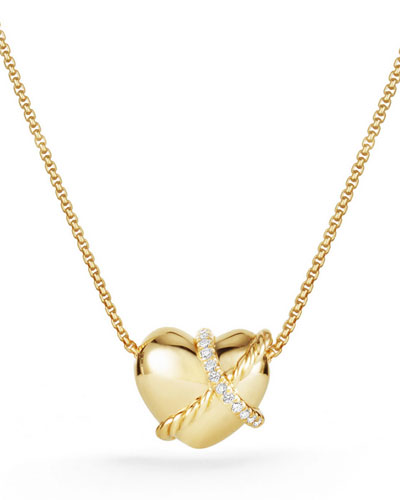 Le Petit Coeur Sculpted Heart Chain Necklace with Diamonds in 18K Gold ...