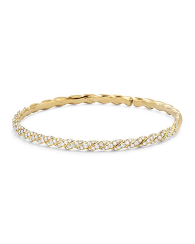 Quick Look David Yurman 3 4mm Paveflex 18k Gold Bracelet
