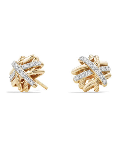 1mm Crossover 18K Yellow Gold Earrings with Diamonds