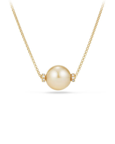 Solari 12mm South Sea Yellow Pearl Station Necklace with Diamonds