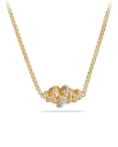 Crossover 18K Pendant Necklace with Diamond