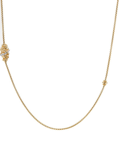 Crossover 18K Station Necklace with Diamonds, 36