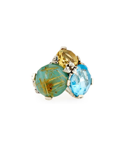 Rutilated Quartz, Turquoise, Topaz & Citrine Ring