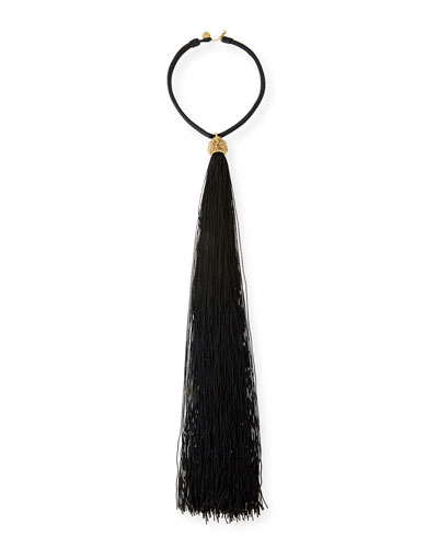 Loulou Long Tassel Collar Necklace, Black