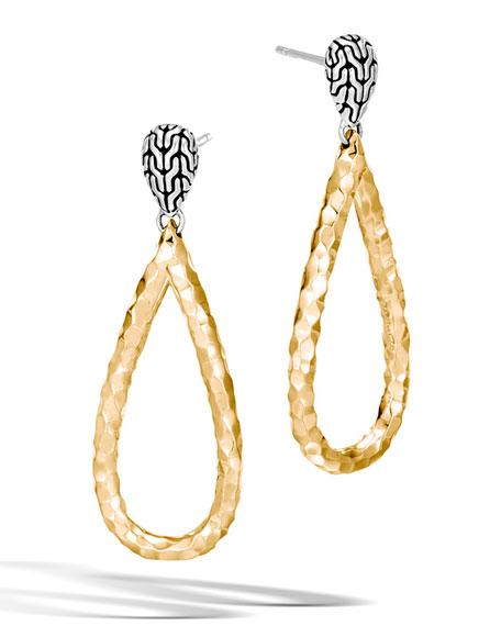 John Hardy Classic Chain Hammered 18K Teardrop Earrings