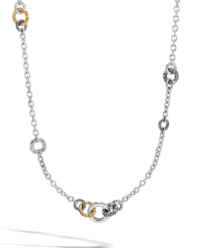 Classic Chain Hammered 18K & Silver Small Link Sautoir Necklace