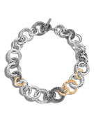 Classic Chain Hammered 18K & Silver Round Link Necklace