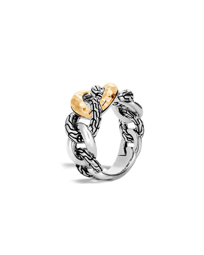 Classic Chain 18K & Silver Curb Link Ring