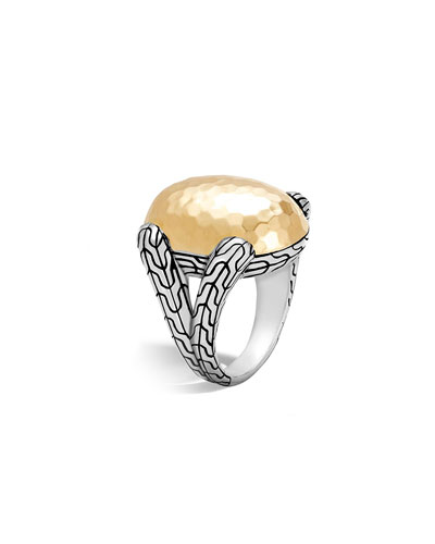 Classic Chain Hammered 18K & Silver Oval Ring