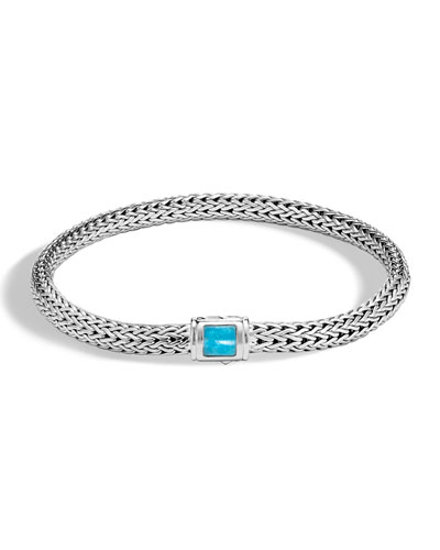 Classic Chain Extra Small Pusher Clasp Bracelet with Turquoise