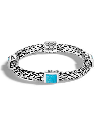 Classic Chain Medium Four Station Bracelet with Turquoise