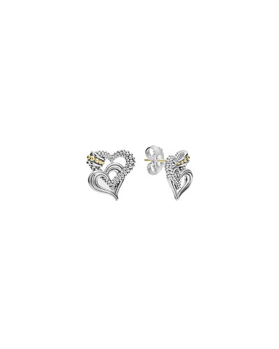 Beloved Sterling Silver/18k Heart Earrings