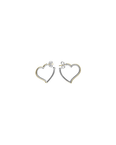 Beloved Sterling Silver/18k Heart Hoop Earrings