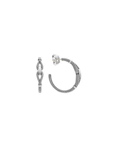 Derby Sterling Silver Caviar Hoop Earrings