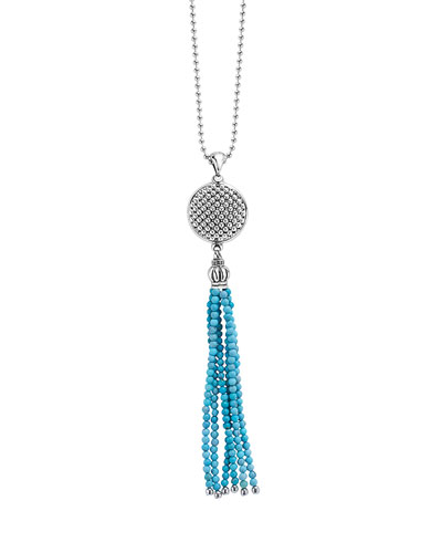 Silver Caviar Icon Turquoise Tassel Necklace