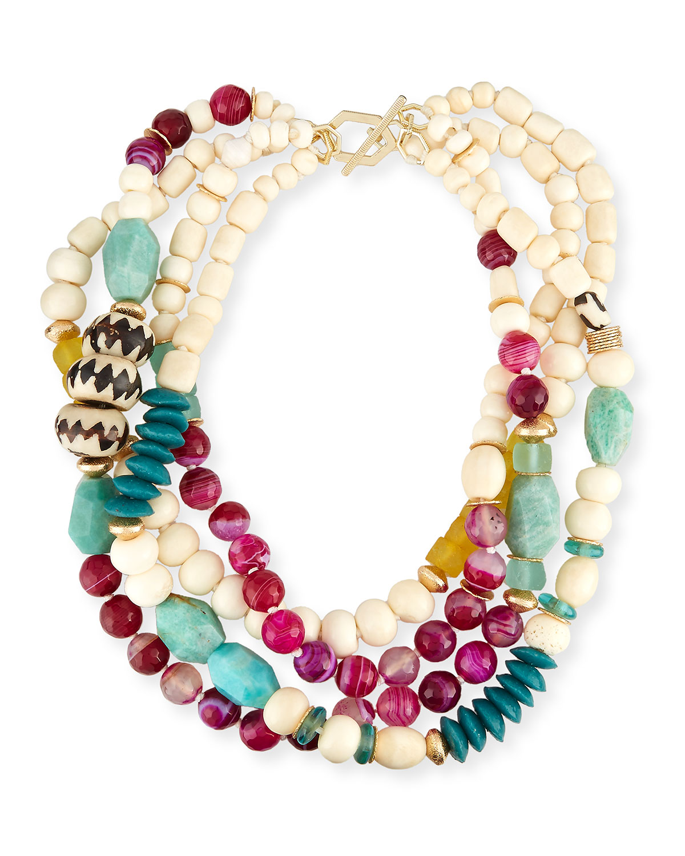 Four-Strand Bone & Agate Necklace