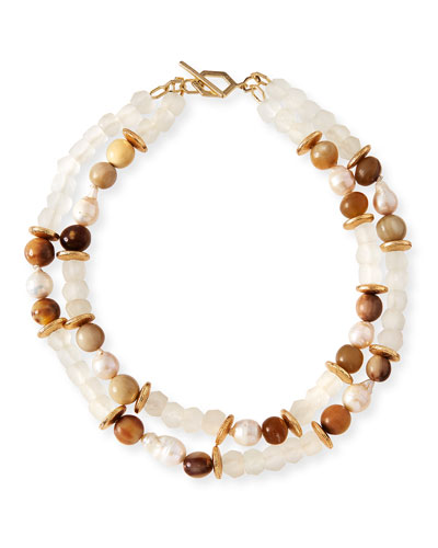 Pearl & Java Glass Beaded Bracelet