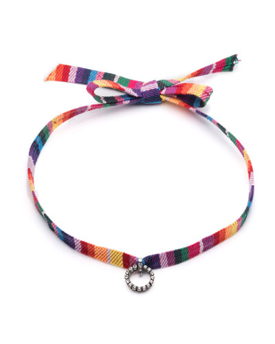 Verena Striped Choker Necklace w/Crystal Charm