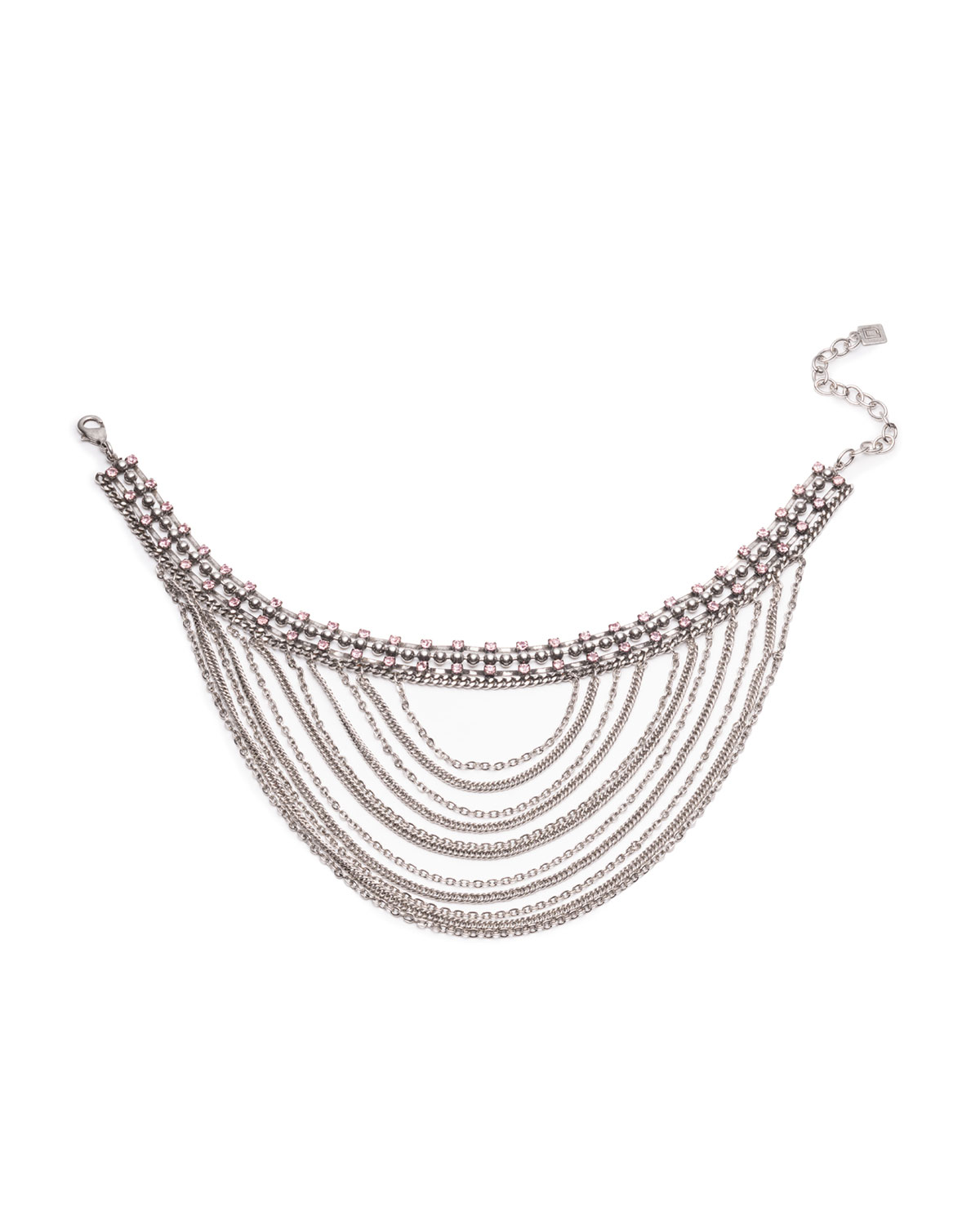 Odion Layered Chain Statement Necklace, Pink