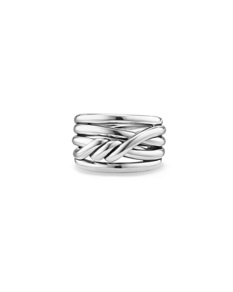 David Yurman 14mm Continuance Stacked Sterling Silver Ring