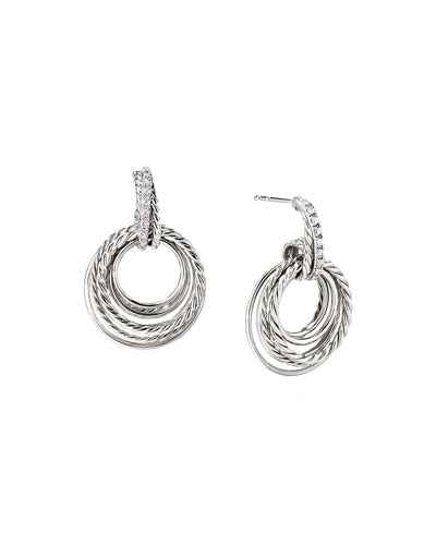 Crossover Doorknocker Hoop Earrings with Diamonds