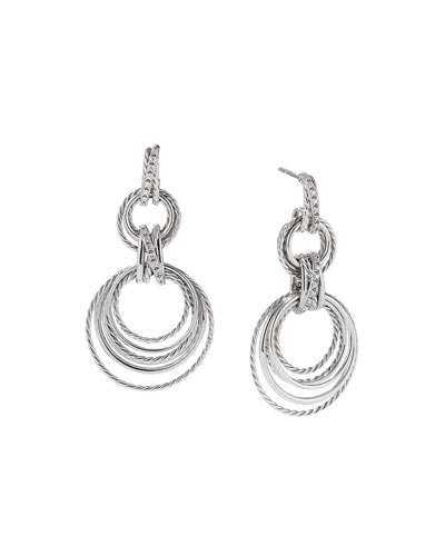 Crossover Double-Hoop Drop Earrings with Diamonds