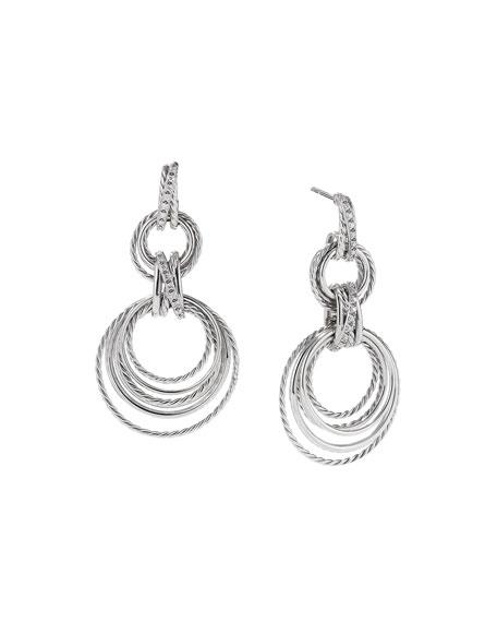 David Yurman Crossover Double-Hoop Drop Earrings with Diamonds