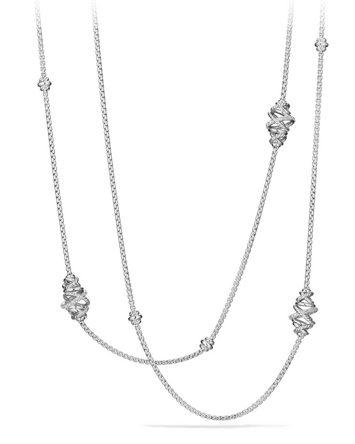 Crossover Sterling Silver Station Necklace with Diamonds