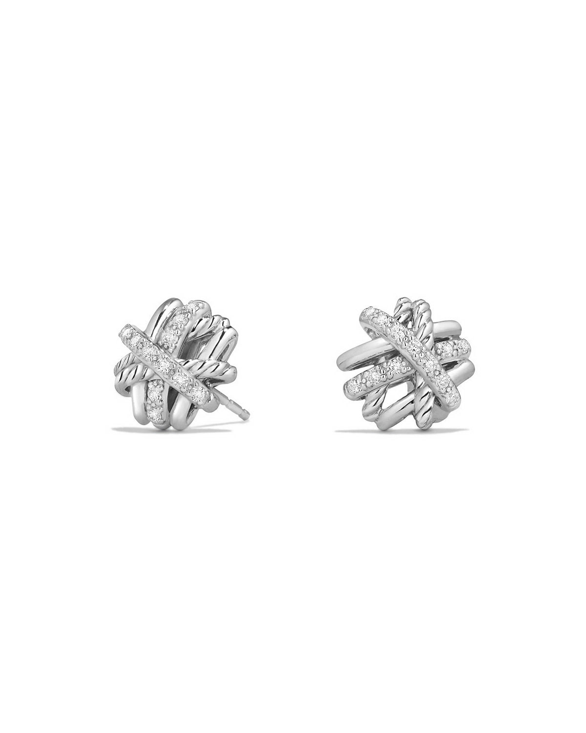 Crossover Sterling Silver Earrings with Diamonds