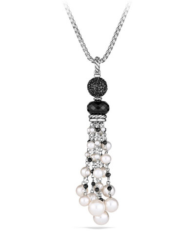 Oceanica Tassel Pendant with Black Spinel & Pearl