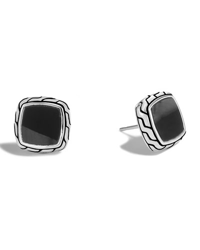 Classic Chain Black Onyx Stud Earrings