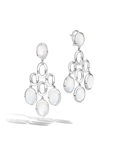 Bamboo White Moonstone Chandelier Earrings