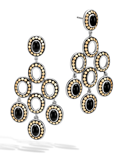 Dot Black Onyx Chandelier Earrings