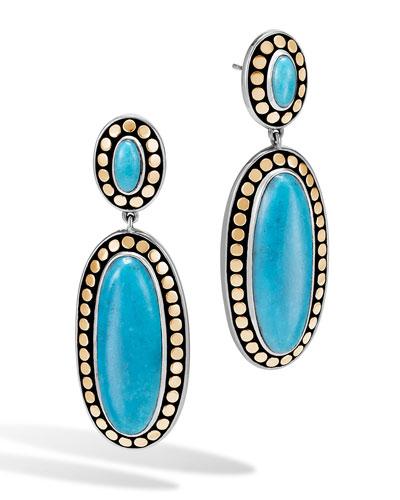 Dot Oval Turquoise Drop Earrings