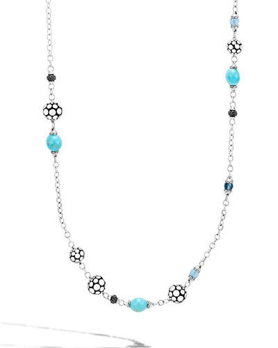 Dot Silver Sautoir Necklace with Turquoise & Sapphire, 36