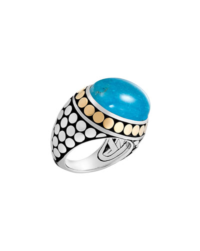 Dot Turquoise Dome Ring, Size 7