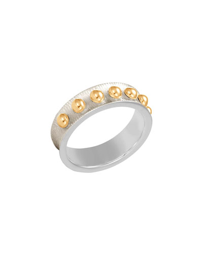 6mm Dot Brushed Band Ring, Size 7