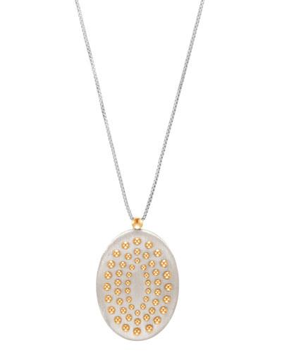 Dot Large Oval Pendant Necklace, 36