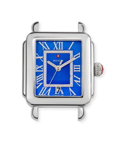 Madison Watch Head with Diamonds, Silver/Cobalt