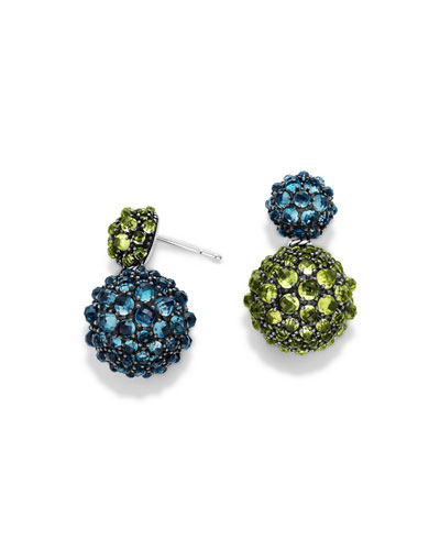 Osetra Double-Drop Topaz & Peridot Earrings