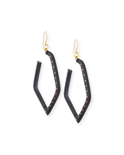 Awali Studded Dark Horn Hoop Earrings