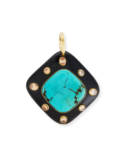 Aulu Dark Horn & Turquoise Pendant