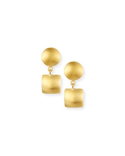 Brushed Double-Drop Earrings