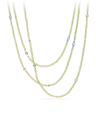 Mustique Tweejoux Peridot Long Beaded Necklace, 62