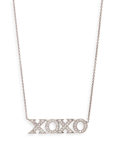 18k White Gold Diamond XOXO Necklace