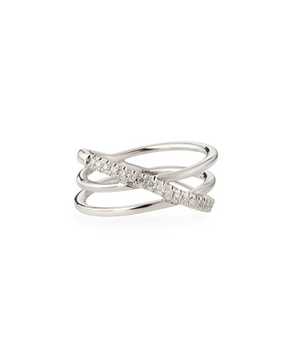18k White Gold Diamond Crisscross Ring