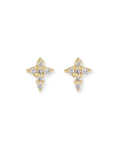 Mini Diamond Cross Stud Earrings